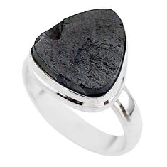 6.98cts solitaire natural black shungite 925 sterling silver ring size 7 t45868