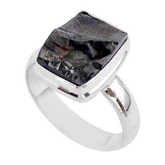 5.38cts solitaire natural black shungite 925 sterling silver ring size 7 t45879