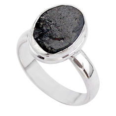 5.23cts solitaire natural black shungite 925 sterling silver ring size 7 t45882