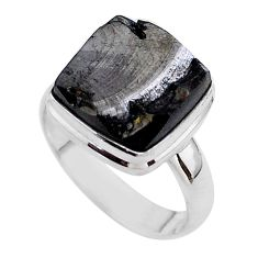 6.27cts solitaire natural black shungite 925 sterling silver ring size 7 t45892