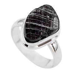 6.82cts solitaire natural black shungite 925 sterling silver ring size 7 t45894