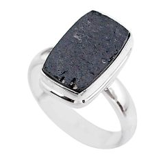 6.02cts solitaire natural black shungite 925 sterling silver ring size 8 t45847