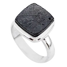 6.02cts solitaire natural black shungite 925 sterling silver ring size 8 t45849