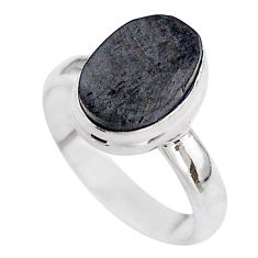 4.87cts solitaire natural black shungite 925 sterling silver ring size 8 t45872