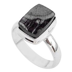 4.92cts solitaire natural black shungite 925 sterling silver ring size 8 t45885