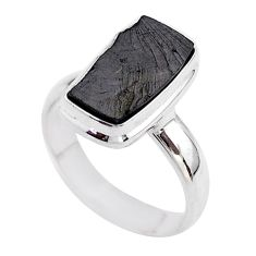 5.63cts solitaire natural black shungite 925 sterling silver ring size 8 t45888