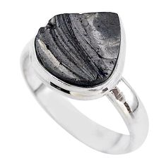 6.93cts solitaire natural black shungite 925 sterling silver ring size 9 t45844