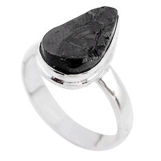 6.85cts solitaire natural black shungite 925 sterling silver ring size 9 t45861