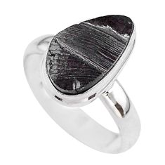6.57cts solitaire natural black shungite 925 sterling silver ring size 9 t45881