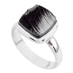 5.63cts solitaire natural black shungite 925 sterling silver ring size 9 t45884