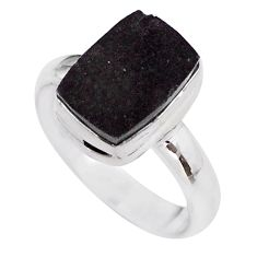 5.08cts solitaire natural black shungite octagan 925 silver ring size 8.5 t45900