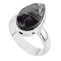 5.51cts solitaire natural black shungite pear 925 silver ring size 6 t45896