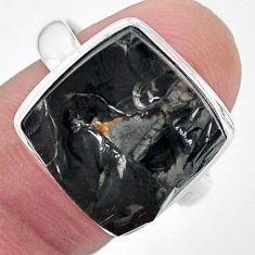11.62cts solitaire natural black shungite silver solitaire ring size 9 t22389