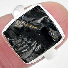 5.87cts solitaire natural black shungite silver solitaire ring size 6.5 t22381
