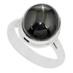 5.52cts solitaire natural black star round sterling silver ring size 7 t10500