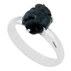 4.59cts solitaire natural black tourmaline raw 925 silver ring size 7 t21041