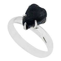 4.25cts solitaire natural black tourmaline raw 925 silver ring size 7 t21056
