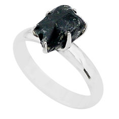 4.29cts solitaire natural black tourmaline raw 925 silver ring size 7 t21062