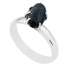 4.59cts solitaire natural black tourmaline raw 925 silver ring size 7 t21066