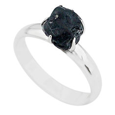 4.26cts solitaire natural black tourmaline raw 925 silver ring size 7 t21068