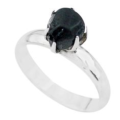 4.04cts solitaire natural black tourmaline raw 925 silver ring size 7 t21070