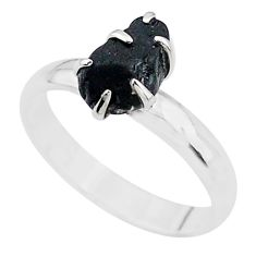 4.02cts solitaire natural black tourmaline raw 925 silver ring size 7 t21073