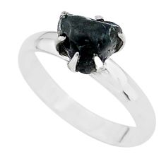 4.26cts solitaire natural black tourmaline raw 925 silver ring size 7 t21076