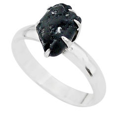 3.39cts solitaire natural black tourmaline raw 925 silver ring size 7 t21079