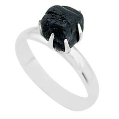 4.89cts solitaire natural black tourmaline raw 925 silver ring size 8 t21045