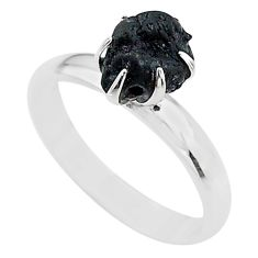 4.60cts solitaire natural black tourmaline raw 925 silver ring size 8 t21046