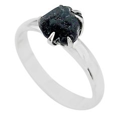 4.29cts solitaire natural black tourmaline raw 925 silver ring size 8 t21050