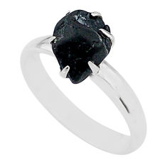 4.88cts solitaire natural black tourmaline raw 925 silver ring size 8 t21057