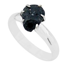 4.34cts solitaire natural black tourmaline raw 925 silver ring size 8 t21061