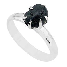 4.26cts solitaire natural black tourmaline raw 925 silver ring size 8 t21063
