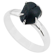 4.89cts solitaire natural black tourmaline raw 925 silver ring size 8 t21065