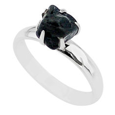 4.29cts solitaire natural black tourmaline raw 925 silver ring size 8 t21071
