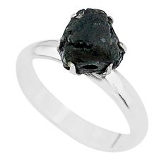 5.22cts solitaire natural black tourmaline raw 925 silver ring size 8 t21074