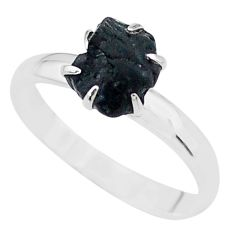 4.29cts solitaire natural black tourmaline raw 925 silver ring size 9 t21077