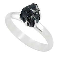 4.56cts solitaire natural black tourmaline raw 925 silver ring size 9 t21080