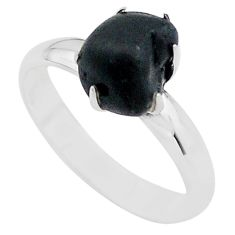 5.21cts solitaire natural black tourmaline raw 925 silver ring size 6.5 t21054