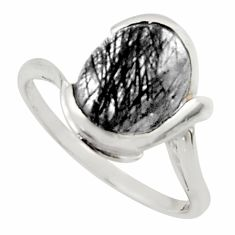 5.23cts solitaire natural black tourmaline rutile 925 silver ring size 9 r40801
