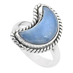 5.82cts moon natural blue angelite 925 sterling silver ring size 6 t22172