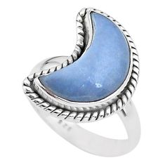 5.82cts moon natural blue angelite 925 sterling silver ring size 6 t22174