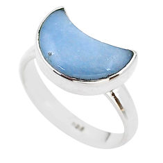 5.22cts moon natural blue angelite 925 sterling silver ring size 7 t22107