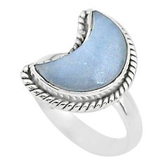 6.02cts moon natural blue angelite 925 sterling silver ring size 7 t22157