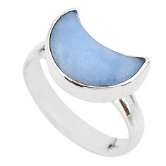 5.22cts moon natural blue angelite 925 sterling silver ring size 8 t22110