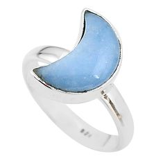 5.54cts moon natural blue angelite 925 sterling silver ring size 8 t22118