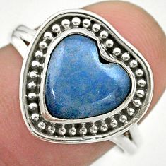5.23cts solitaire natural blue angelite 925 sterling silver ring size 8 t41632