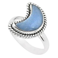 6.10cts moon natural blue angelite 925 sterling silver ring size 9 t22154