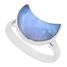 5.84cts moon natural blue angelite fancy shape silver ring size 9 t22044